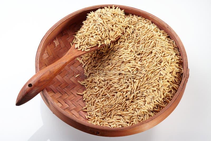 在盘子&木头匙子的稻 免版税库存图片