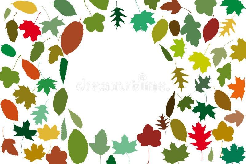 在盘旋的框架的许多秋叶 向量例证