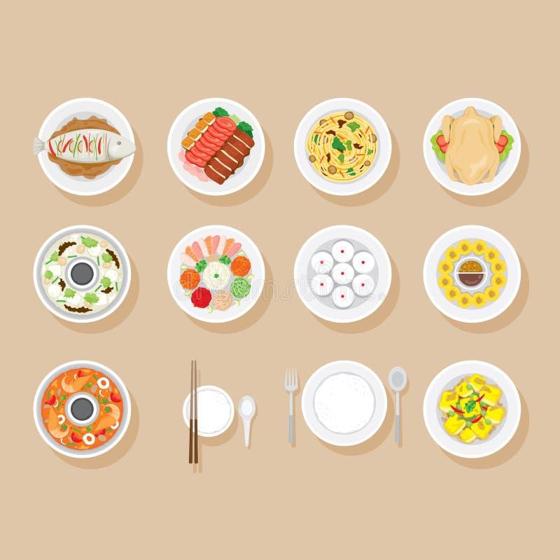 在盘集合的食物 库存例证