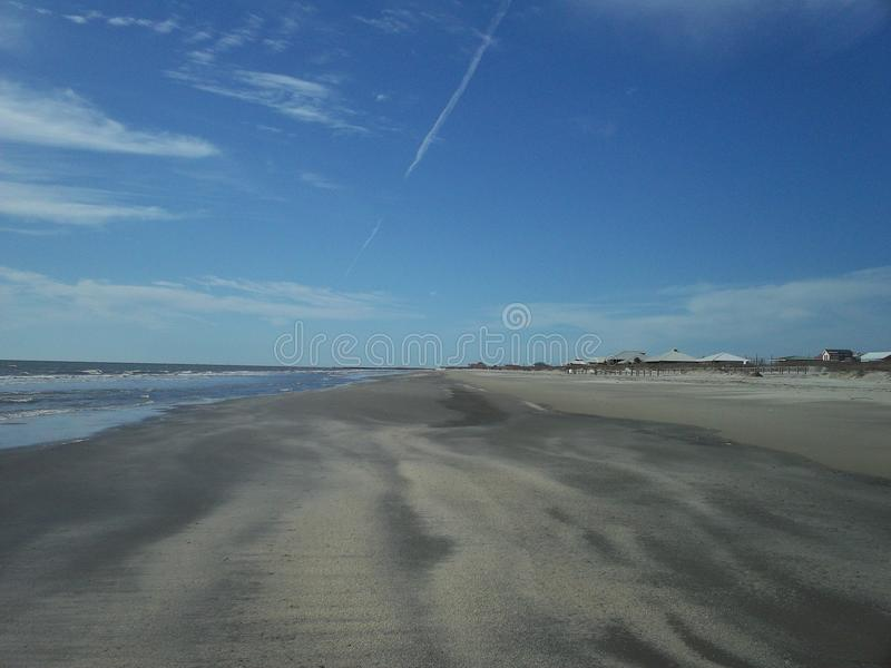 在盛大小岛,路易斯安那的海滩 库存图片