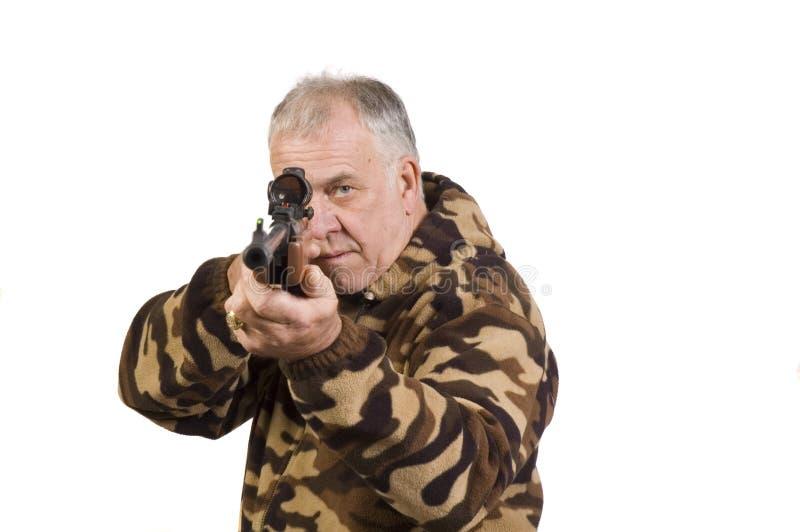 在目标的猎人射击 免版税库存照片