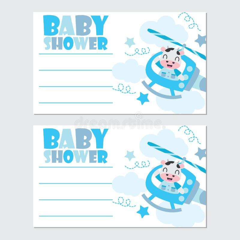 在直升机框架传染媒介动画片例证的逗人喜爱的母牛婴儿送礼会卡片设计的 向量例证