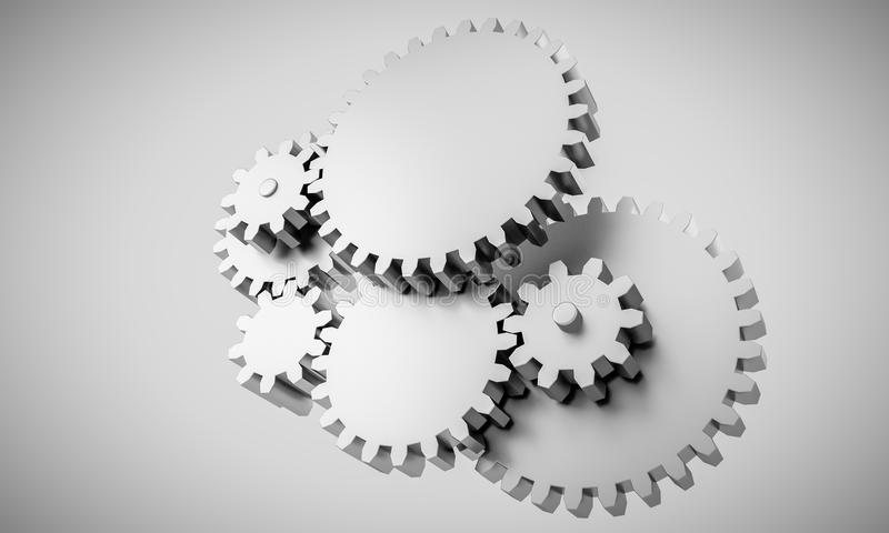 在相互依赖锁的齿轮-概念翻译 皇族释放例证