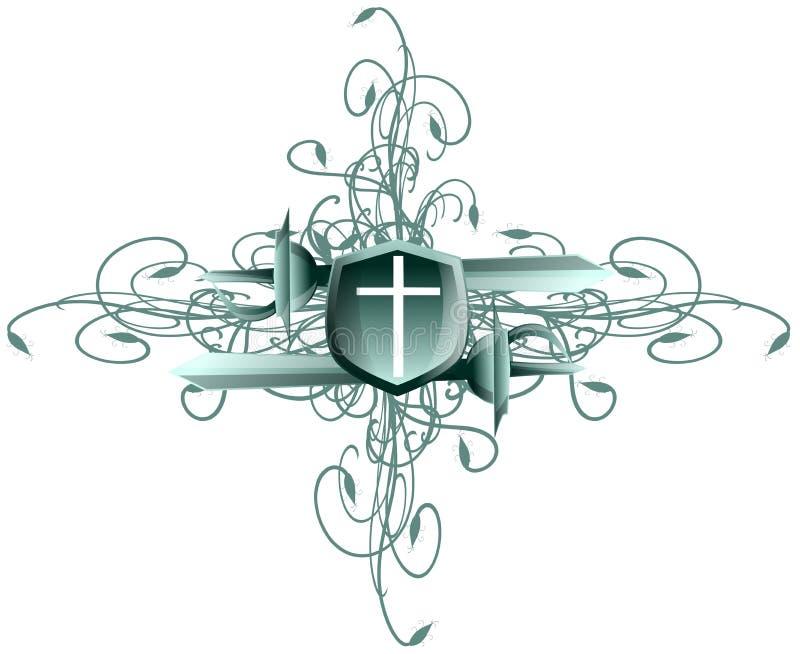 在盾的十字架有剑的 皇族释放例证
