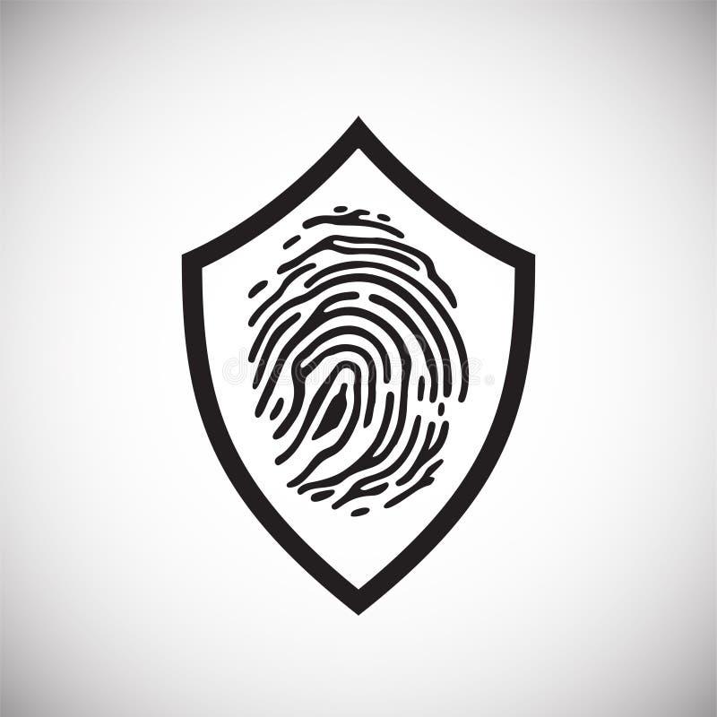 在盾的指纹安全在图表和网络设计的,现代简单的传染媒介标志白色背景 背景蓝色颜色概念互联网 库存例证