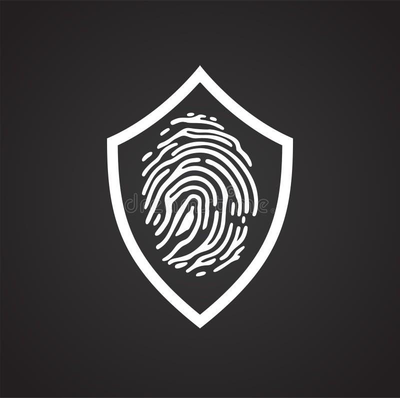 在盾的指纹安全在图表和网络设计的,现代简单的传染媒介标志黑背景 背景蓝色颜色概念互联网 向量例证