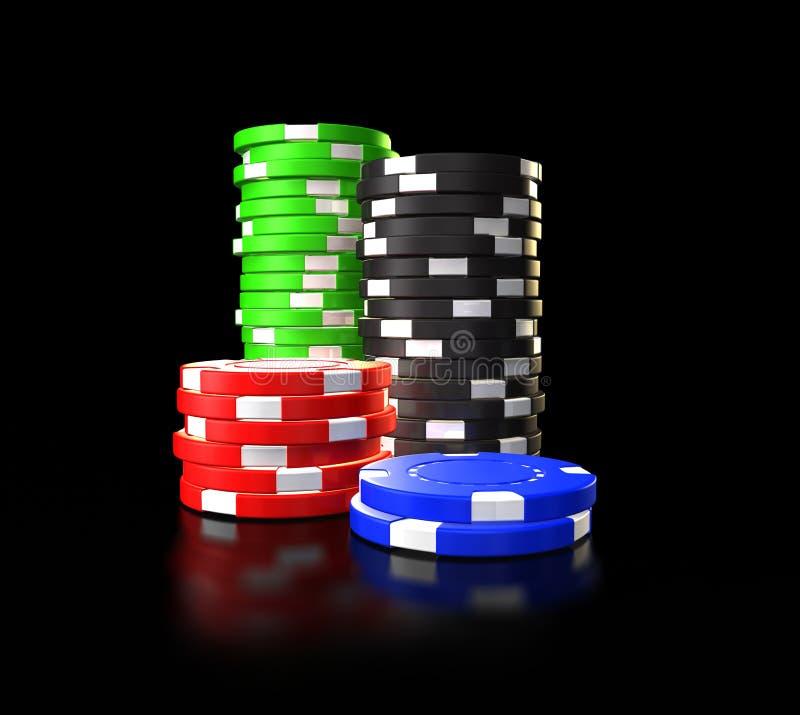 在看板卡筹码附近深度感觉域赌博演奏啤牌浅被堆积的表的绿色人球员 皇族释放例证