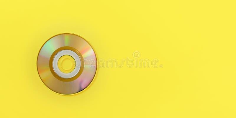 在看法下的上面,在黄色板,与空间的宽横幅的小CD文本权利的 库存图片