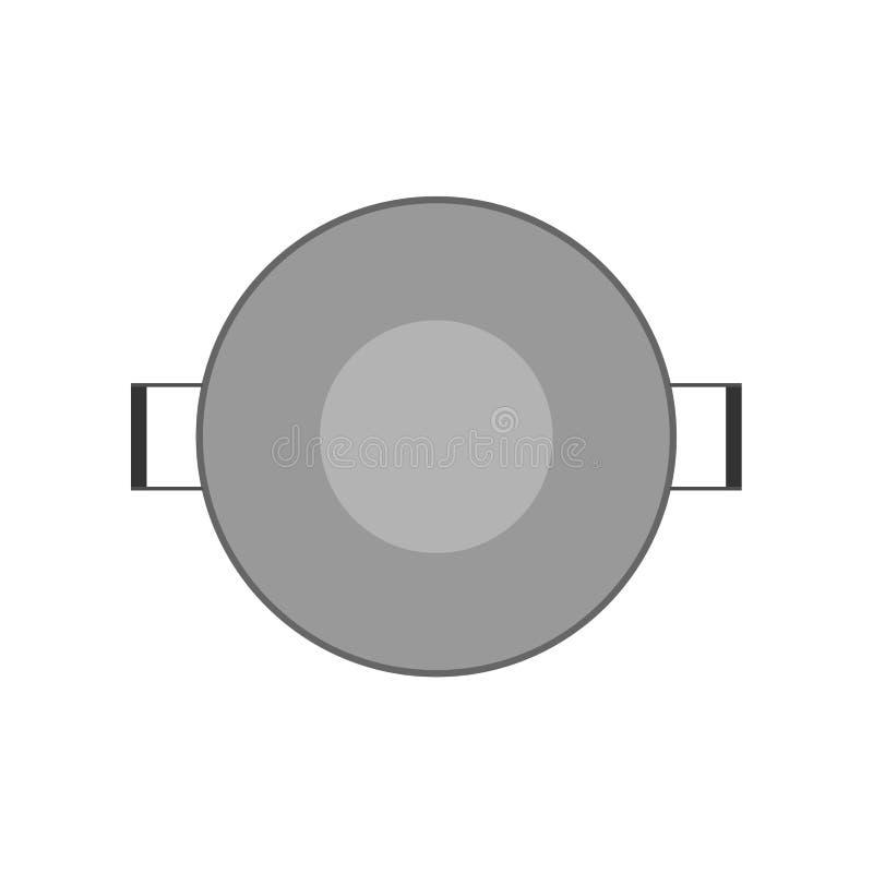 在看法晚餐烹调设备对象上的平底锅 烹调平的工具不锈的传染媒介象厨房罐上面 向量例证