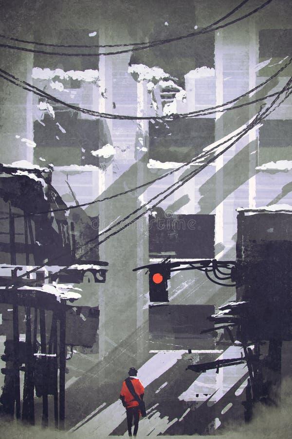 在看被破坏的大厦的被放弃的城市供以人员走 向量例证