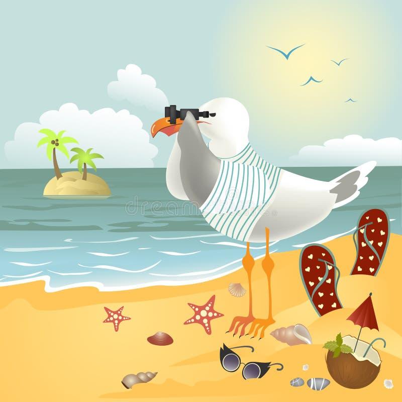 在看通过双筒望远镜的海滩的海鸥 皇族释放例证