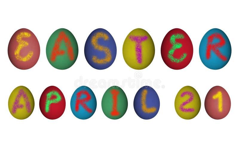 在真正的鸡蛋的复活节4月21日标志 皇族释放例证