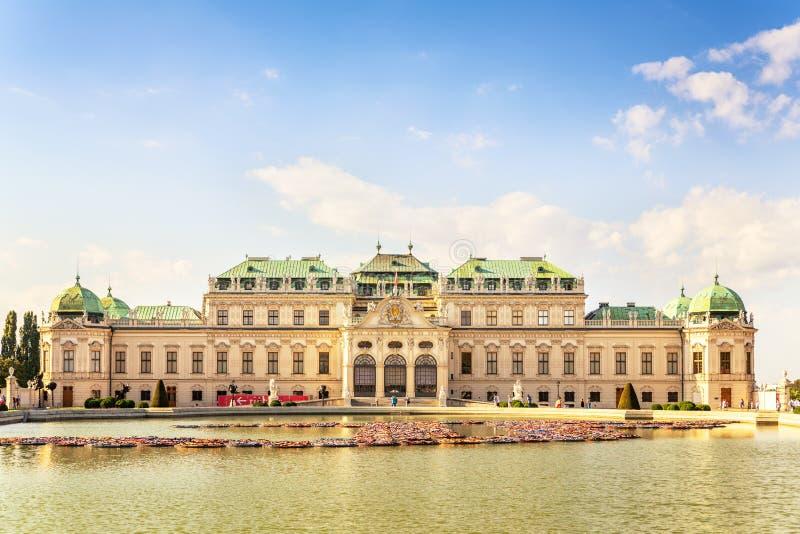 在眺望楼宫殿,维也纳,奥地利的前面看法 库存图片