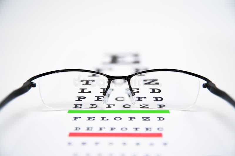 在眼力测试图的眼睛玻璃 库存图片
