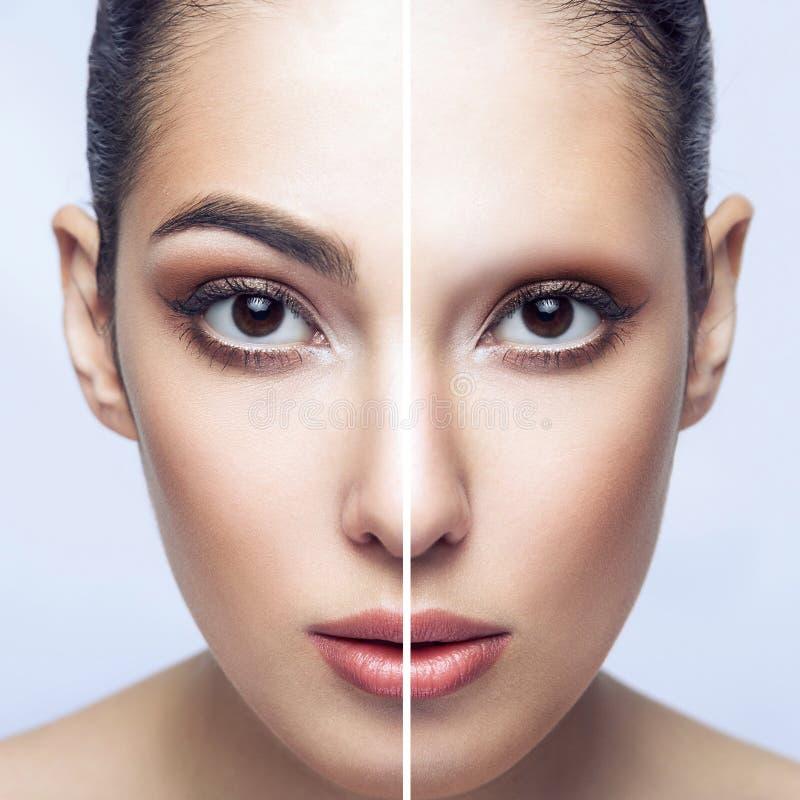 在眼眉治疗前后 美丽的深色的妇女特写镜头半画象有眼眉的和无,看 免版税库存照片