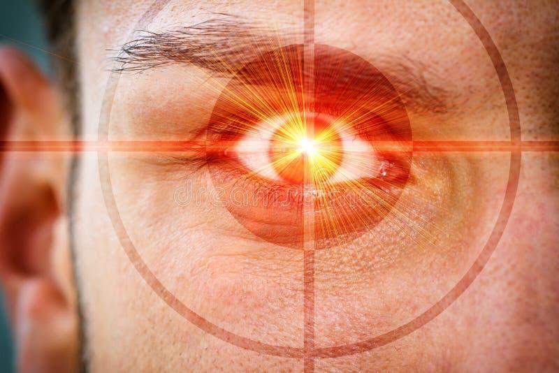 在眼睛的激光光芒 免版税库存照片