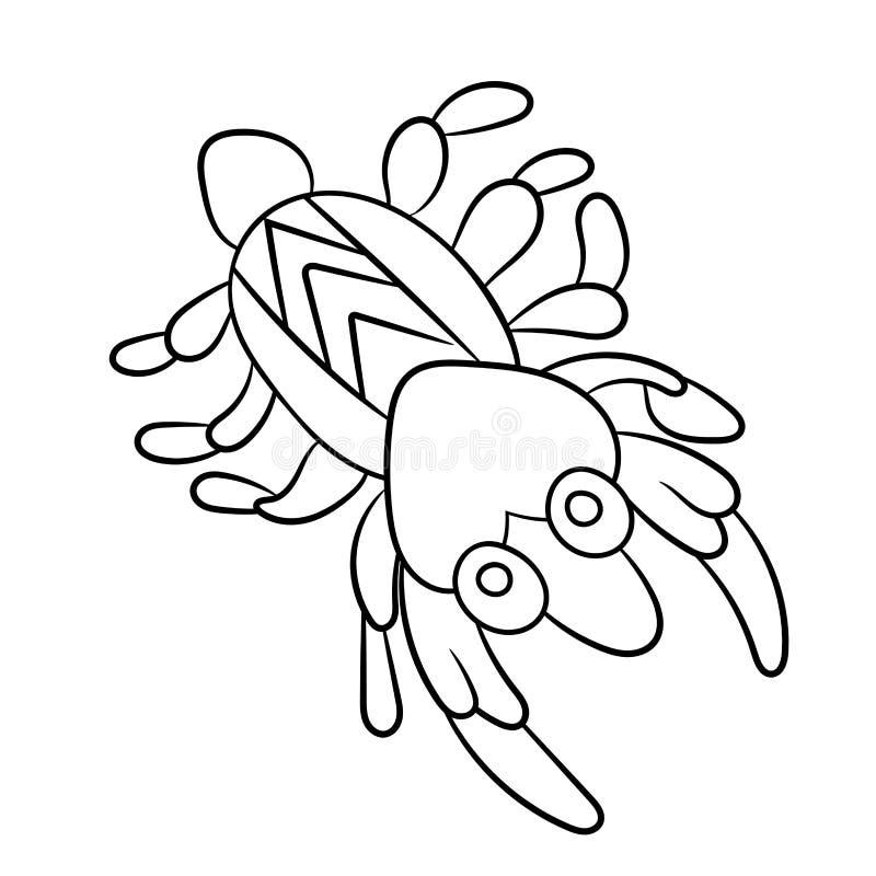 在着色页的浮游生物虾childrean和成人的在vect 向量例证