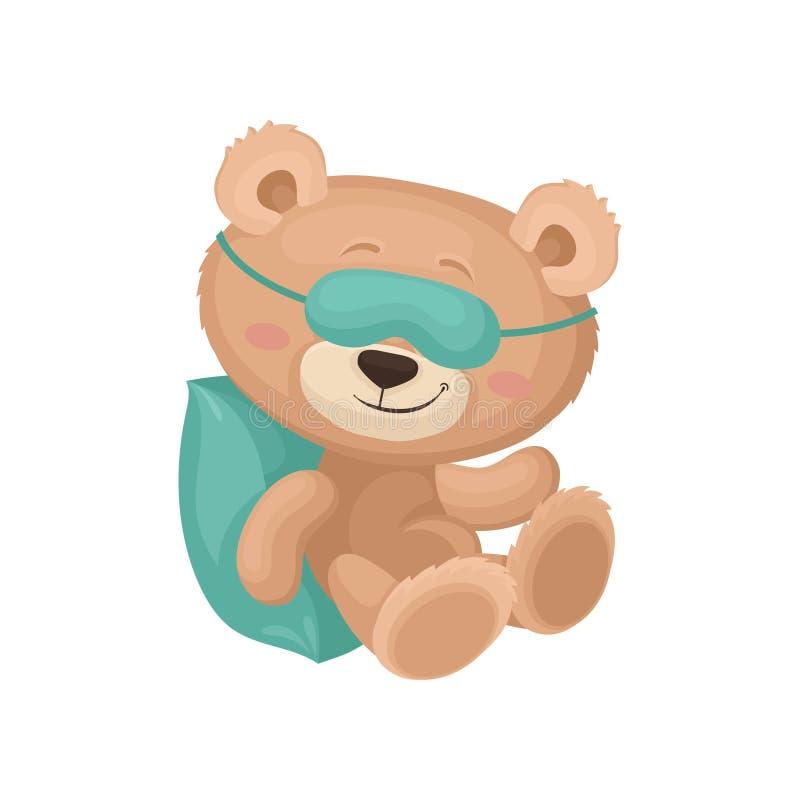 在睡觉面具的逗人喜爱的玩具熊作梦在枕头的 长毛绒玩具 儿童图书的平的传染媒介元素 皇族释放例证