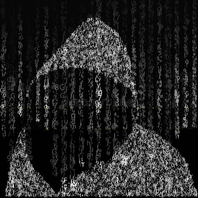 在矩阵样式的背景 在黑白的下落任意字符 在一位黑客的背景字符敞篷的  向量例证