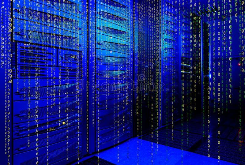 在矩阵代码的一个未来派表示法的系列计算机主机 图库摄影