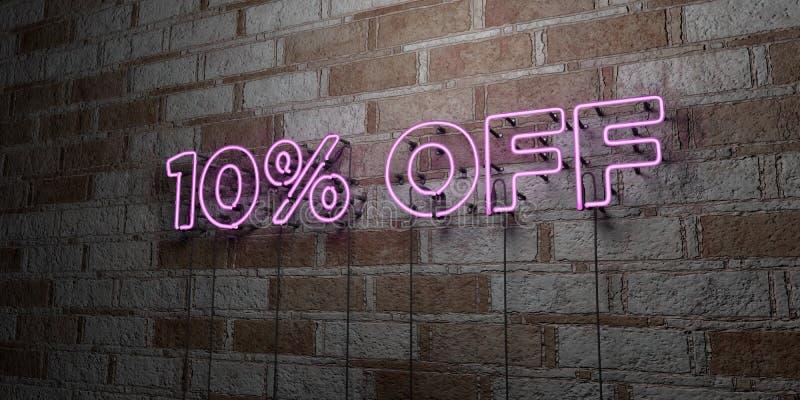 在石制品墙壁上的10%发光的霓虹灯广告- 3D回报了皇族自由储蓄例证 向量例证