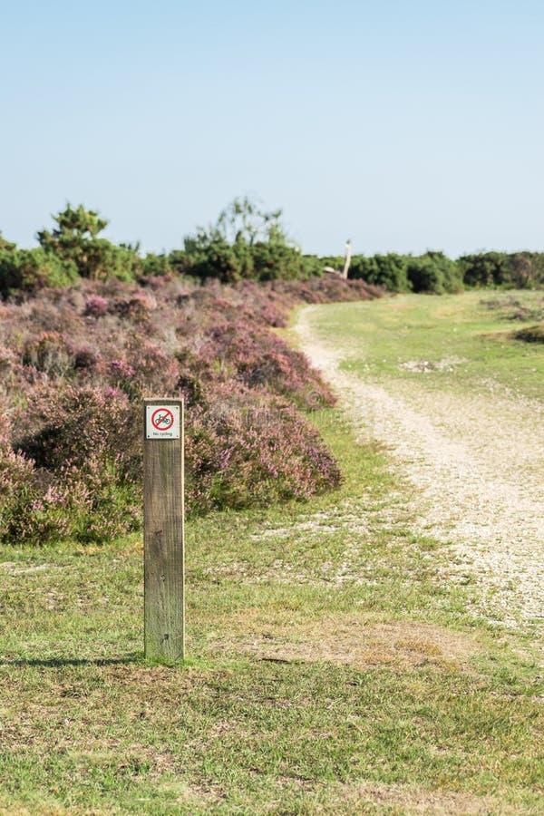 在石南花灌木前面的没有循环的fingerpost在石渣轨道旁边在新的森林,英国里 库存图片