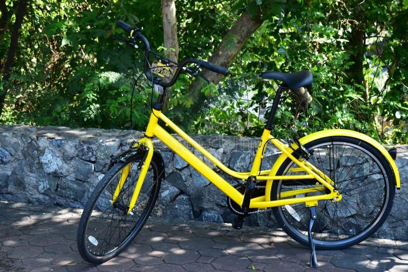 在石墙附近的黄色自行车停车处 免版税库存图片