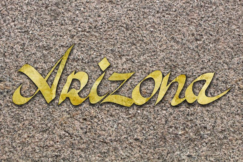 在石头的词亚利桑那 免版税图库摄影