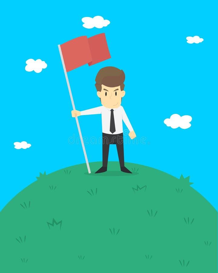 在石峰的一面商人举行旗子 库存例证