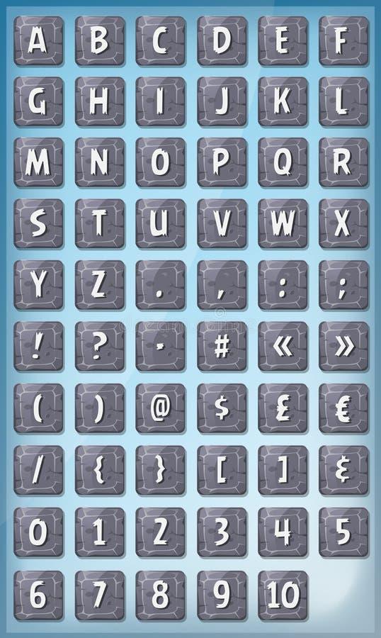 在石标志设置的字母表字体 库存例证