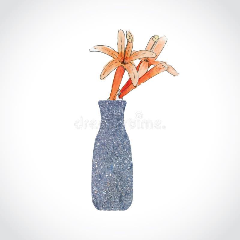 在石花瓶的橙色花 图库摄影