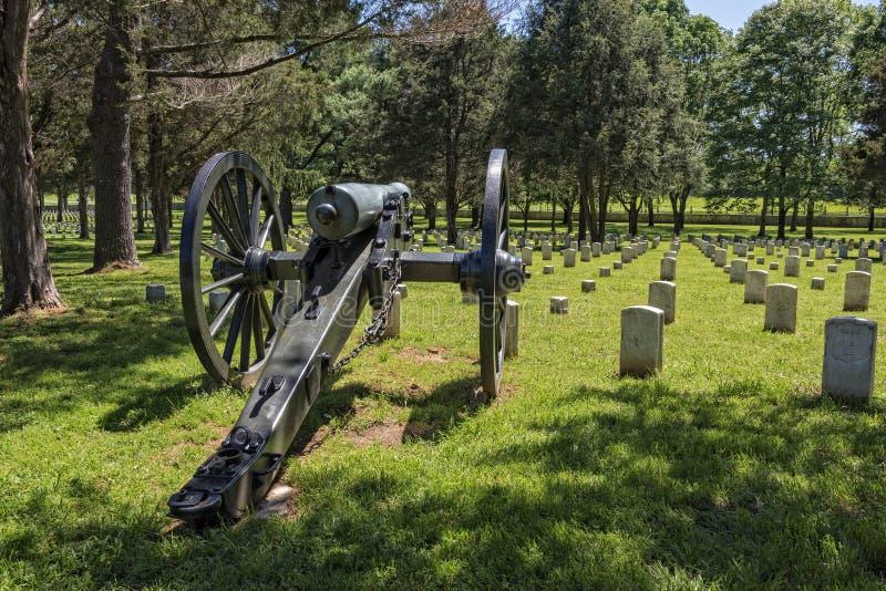 在石头河全国战场和公墓的大炮 免版税库存照片