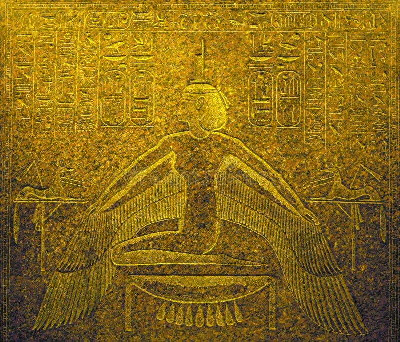 在石头的古老埃及艺术安心作为背景 免版税库存照片