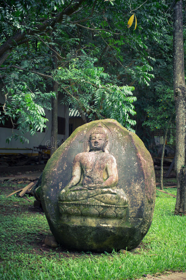 在石头的菩萨版本记录 免版税图库摄影