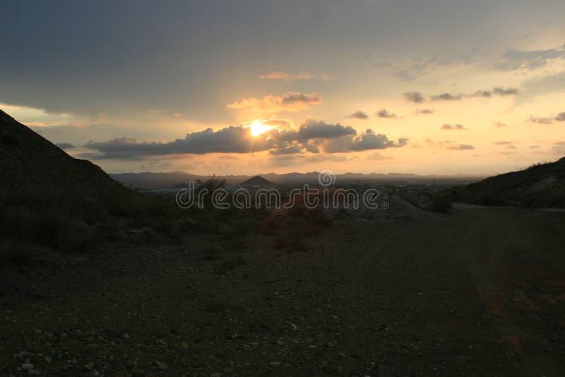 在矿的日落 库存图片