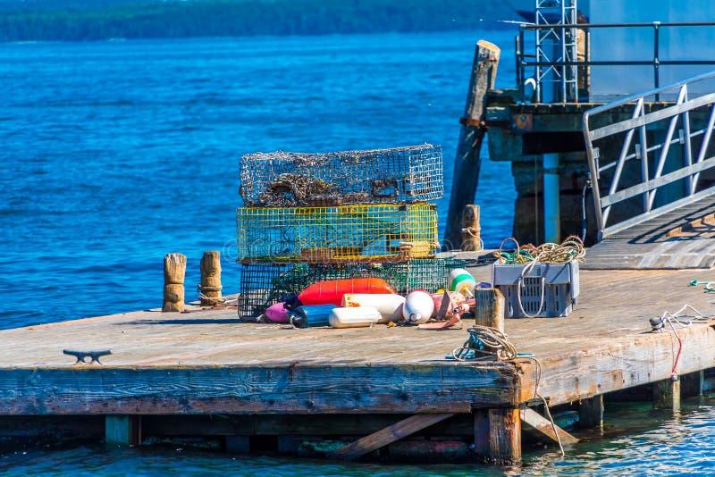 在码头的龙虾陷井 免版税库存图片