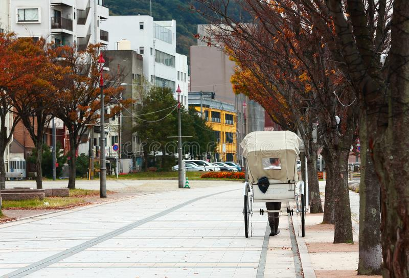 在码头附近的日本路旁推车在Mojiko,北九州, Fukuok 免版税库存图片