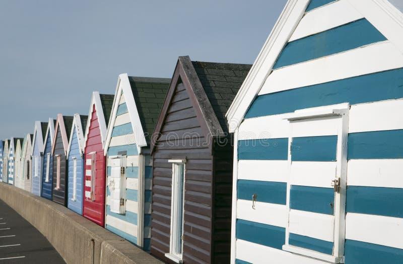 在码头的海滩小屋在Southwold 库存照片