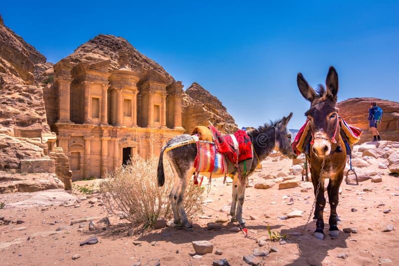 在砂岩、Petra,约旦古老流浪的城市的专栏和废墟的洞 库存图片