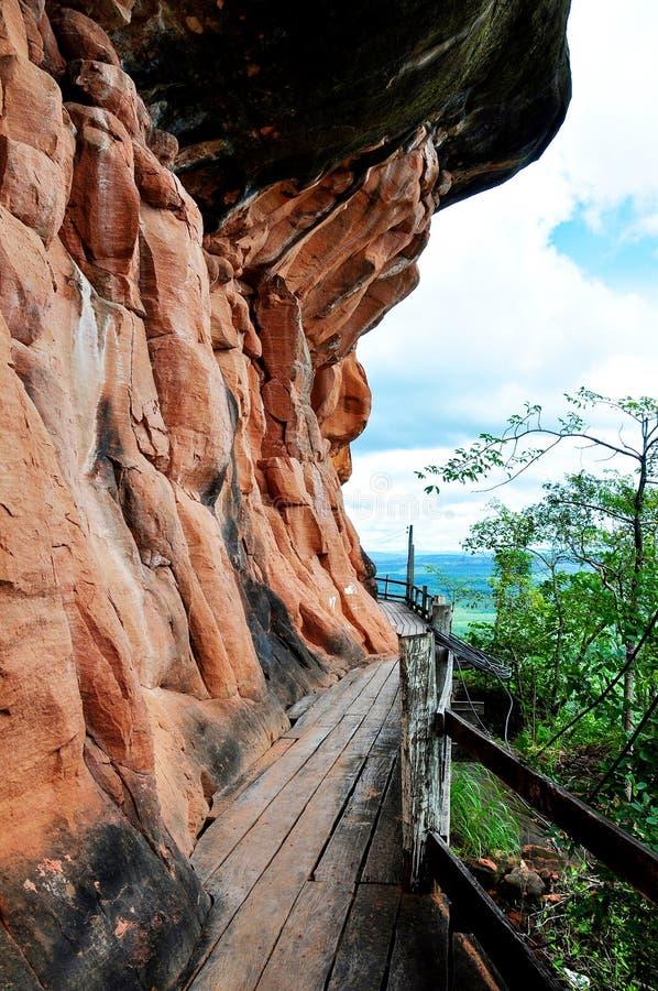 在砂岩附近的木走道山 库存照片