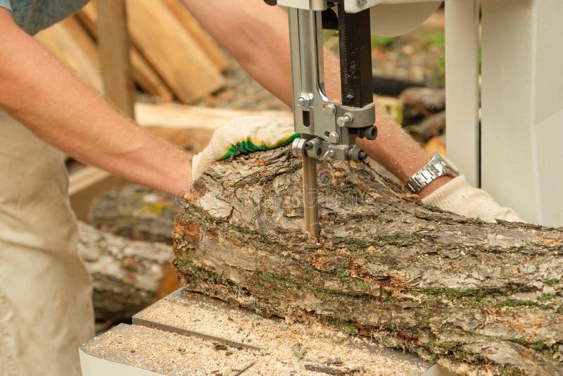 在砍树的木匠的照片工作 库存图片