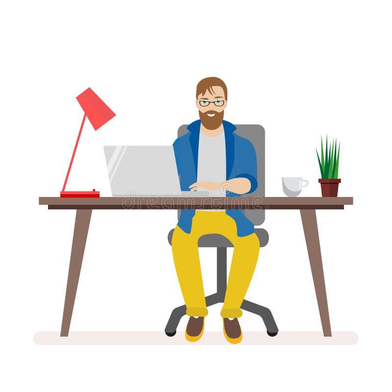 在研究计算机的书桌后的人 办公室工作人员的工作环境 灯和膝上型计算机,咖啡和 向量例证