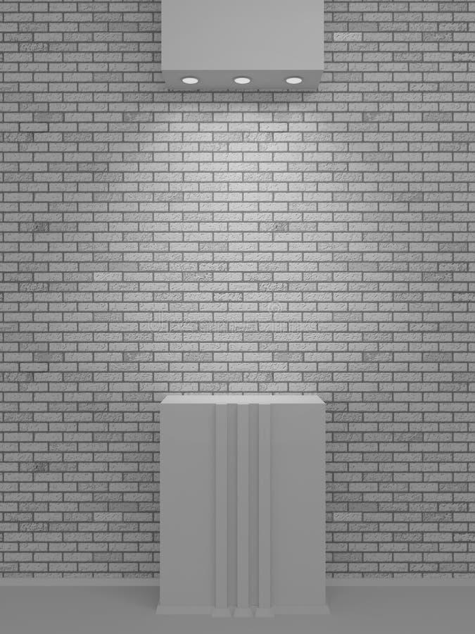 在砖墙上的一个被点燃的适当位置陈列的和presen 库存例证