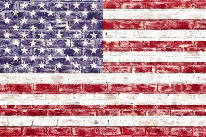 在砖墙上的一面美国国旗 库存例证