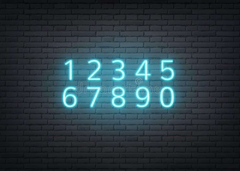 在砖墙上的传染媒介霓虹字母表减速火箭的数字 皇族释放例证