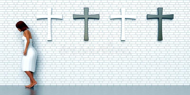 在砖墙上的十字架 向量例证