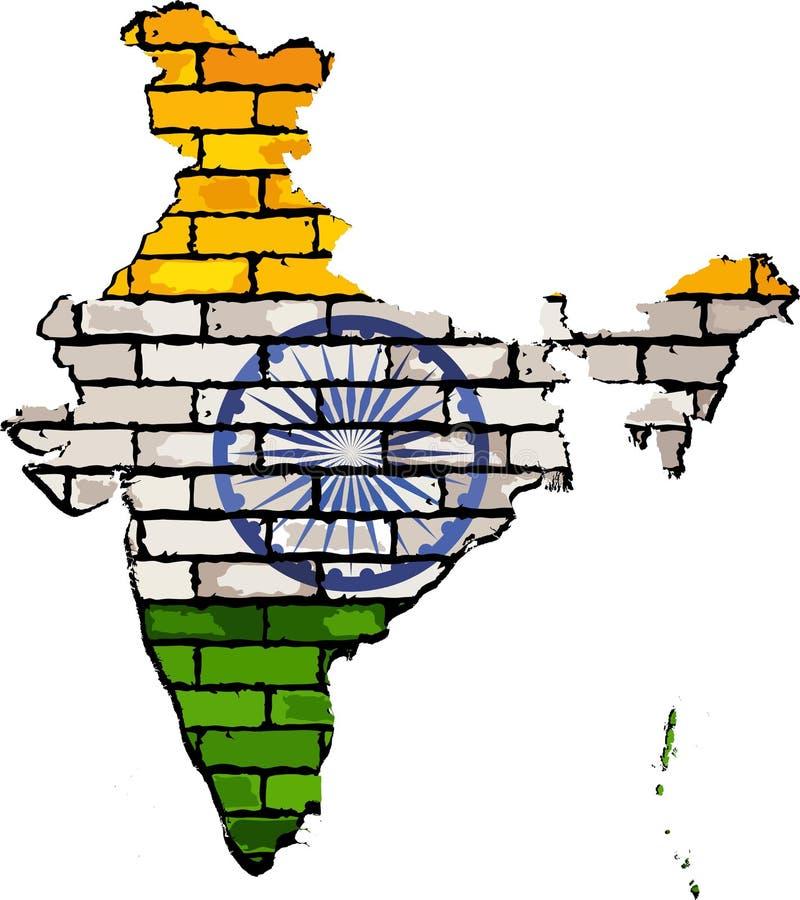 在砖墙上的印度地图 库存例证