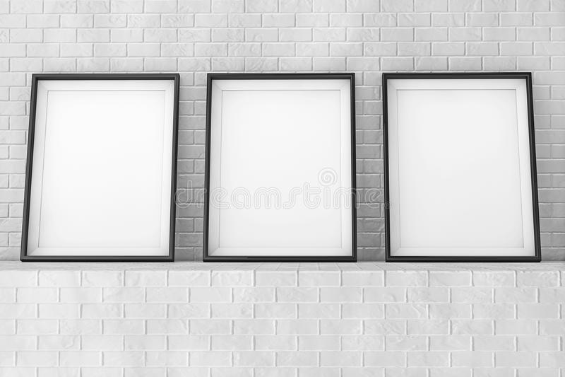 在砖墙上的空白的画框 3d翻译 皇族释放例证