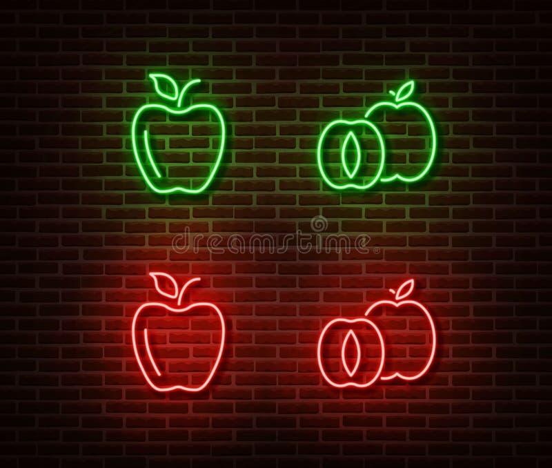 在砖墙上隔绝的霓虹菜标志传染媒介 绿色和红色苹果轻的标志,E-F的装饰 向量例证