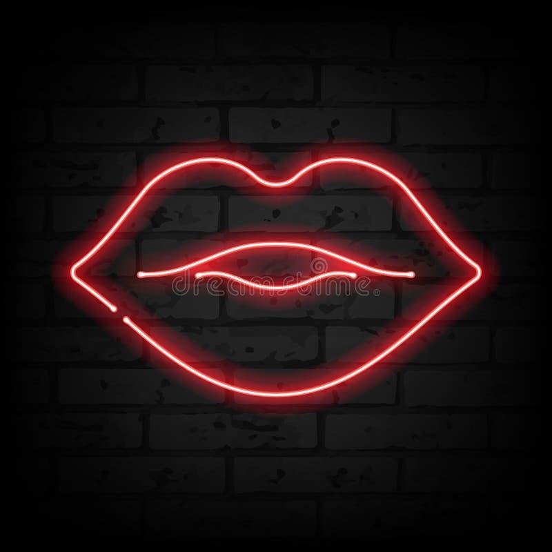 在砖墙传染媒介例证的霓虹嘴唇 皇族释放例证